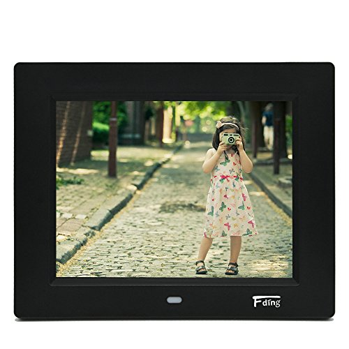 8 Inch Hi-Resolution LED Digital Photo Frame & HD Video Playback with 8GB SD Card-Black by Fding