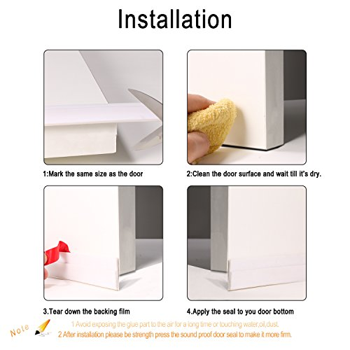 """Door Draft Stopper, Adsive Door Sweep Weather Stripping Seal Soundproof and  Noise Stopper,2""""Width 39"""" Length,White"""
