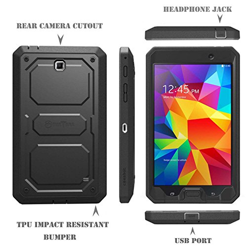 Fintie Samsung Galaxy Tab 4 7.0 Case [CaseBot Tuatara] - Rugged Unibody Dual Layer Hybrid Full Protective Cover with Built-in Screen Protector and Impact Resistant Bumper, Black