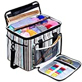 BONTIME Knitting Bag - High Capacity Striped Yarn Storage Tote Bag,Project Bags with Roomy Interior,Great for Organizing Everything You Need for Each of Projects,Large