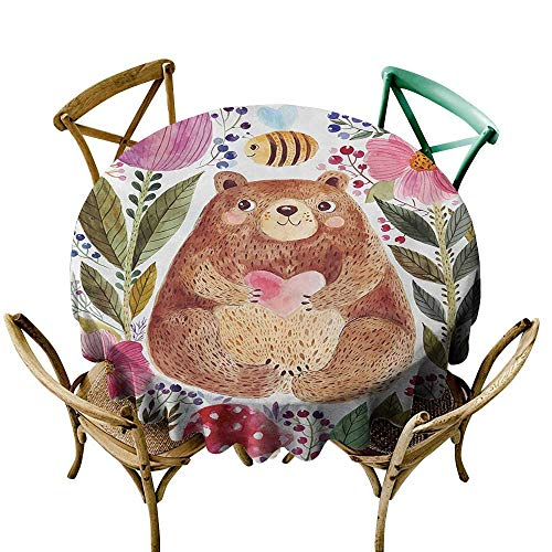 Wendell Joshua The Pattern Round Table Cloth 36 inch Watercolor Flower,Cute Bear with Flowers and Bee Animal Spirit Nature Modern Illustration,Multicolor Suitable for Indoor Outdoor Round Tables