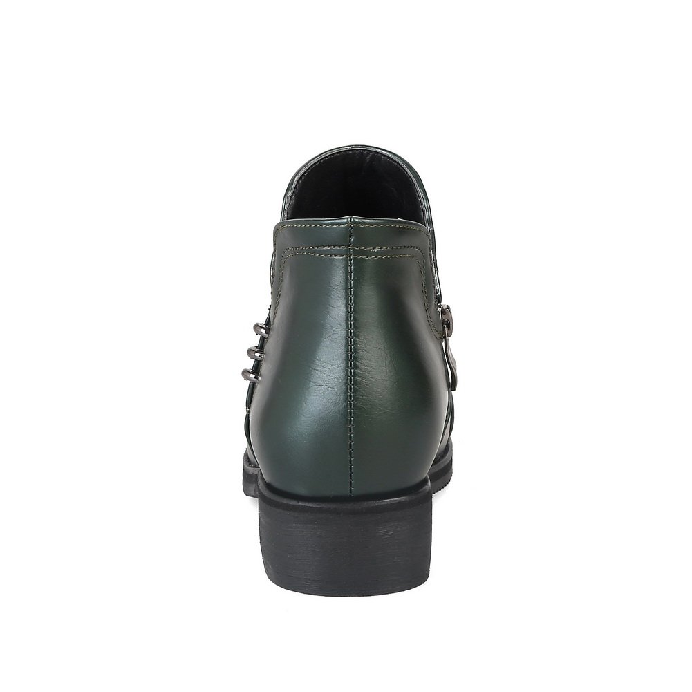 BalaMasa Womens Solid Zip Square Heels Urethane Pumps Shoes ABL10666