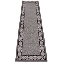 """Trellis Border Moroccan Design Printed Slip Resistant Rubber Back Latex Runner Rug and Area Rugs More Color Options Available (Grey Beige, 1'11"""" x 7')"""