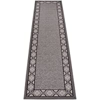 Trellis Border Moroccan Design Printed Slip Resistant Rubber Back Latex Runner Rug and Area Rugs More Color Options Available (Grey Beige, 111 x 7)