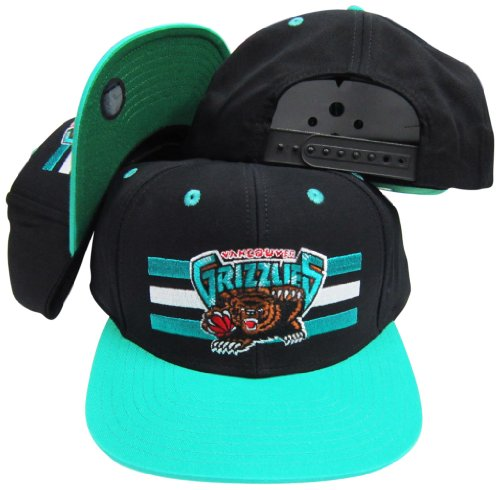 (Vancouver Grizzlies Black/Teal Two Tone Snapback Adjustable Plastic Snap Back Hat / Cap )