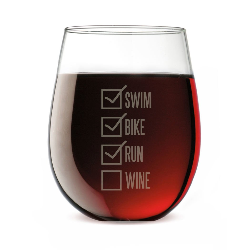Swim Bike Run Wine Glass