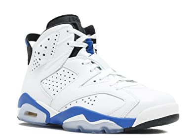 cheap for discount 69e4a 636bd Nike Air Jordan 6 Retro Leather Basketball Shoes (17) White Sport Blue-