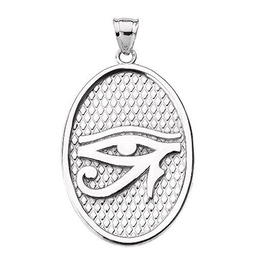 Sterling Silver Engravable Oval Pendant (Egyptian Eye of Horus Engravable in Sterling Silver Oval Pendant)