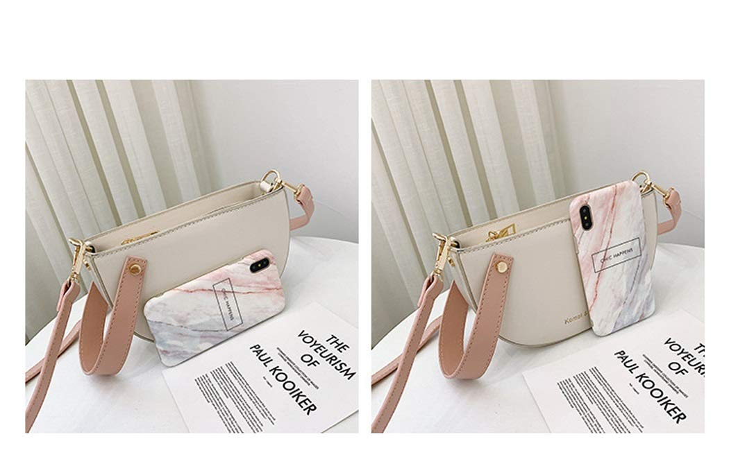 XYQS Wild Casual Girl Slung Semi-Circle Bag Retro Fashion Saddle Bag Diagonal Package Color : Pink, Size : 20136cm