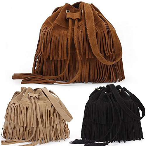 Bag Shoulder Bag Bucket Bags Drawstring Suede amp; Tassels Vintage Apricot Messenger Cross body Women Handbag Fringe Dxlta xU6nRR