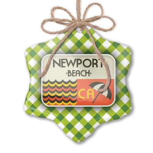 Beach Newport Green - NEONBLOND Christmas Ornament US Beaches Retro Newport Beach Green Plaid