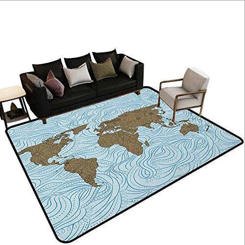 Office Marshal Carpet Chair Floral World Map,World Map with Wavy Ocean Lines Flower Continent Icons Artful Image, Cocoa Pale Blue