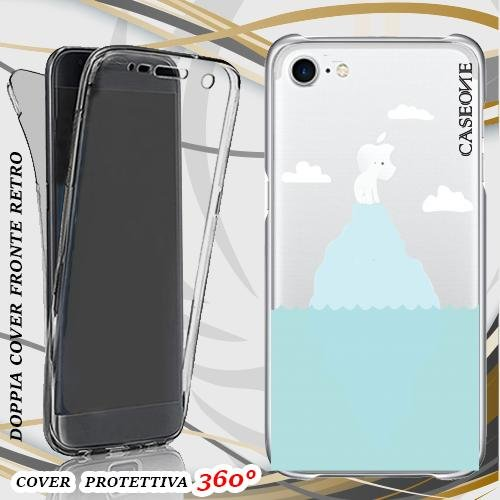 CUSTODIA COVER CASE ORSO POLARE ALONE PER IPHONE 7 FRONT BACK TRASPARENTE