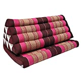 Thai triangle cushion XXL, with 1 folding seat, sofa, relaxation, beach, pool, meditation, yoga, made in Thailand Bordeaux/Pink (81416)