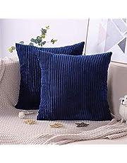 IUYJVR Pack van 2 kussenslopen zachte Corduroy effen kleur decoratieve kussensloop slaapkamer kussenhoes sofa auto bed 45 x 45cm-donkerblauw