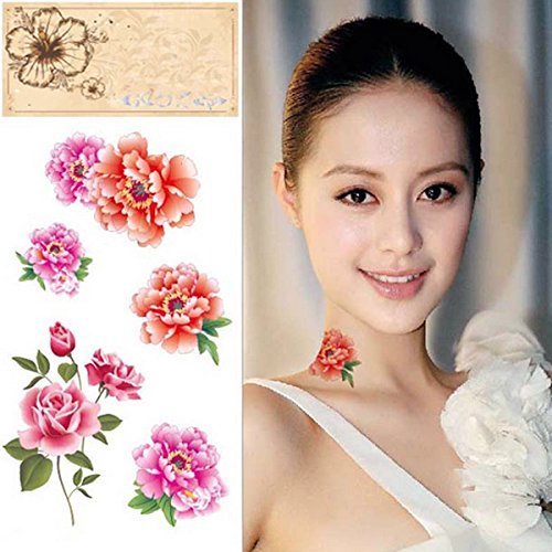 Temporary Tattoos - Temporary Roses Peonies Tattoo Transfer Body Art Sticker Waterproof - Temporary Tattoos Flowers Flower Rose Tattoo Roses Peony Black Peonies Sticker - 1PCs (Flower Meanings Peony)