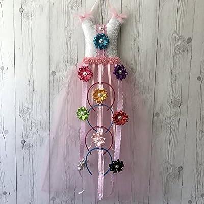 Bead&Cord Pink Tutu Dress Hair Bow Holder Organizer: Hair Accessories Organizer for Headbands, Hair Bows, Hair Clips [Tutu Pink Favorite Glitter]