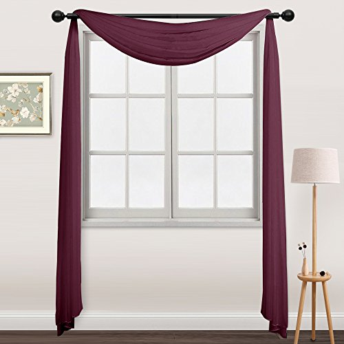 NICETOWN Sheer Sarf Curtains Burgundy - Elegant Solid Sheer Voile Valance Window Curtain Scarf (One Piece, 60 by 216 inch, Burgundy / Wine) (Window Voile Solid Sheer)