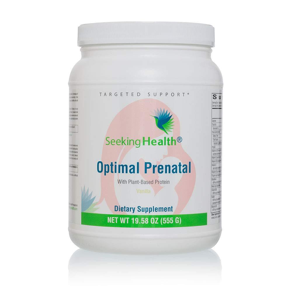 Seeking Health Optimal Prenatal with Plant-Based Protein, Chocolate or Vanilla Flavor, Vegetarian Protein Powder with Prenatal Multivitamin for Women, Gentle Formula for Digestive Comfort, 15 Servings*
