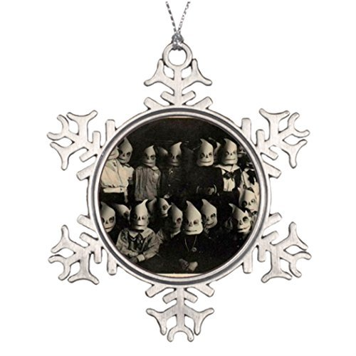 Xmas Trees Decorated Vintage halloween's Costumes Photo in Ireland Garden Snowflake Ornaments Horror