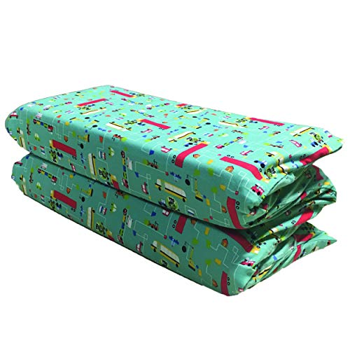 - KinderMat PBS Kids Cover, Pillowcase Style Full Sheet, Fits Rest Mats Roughly 24 X 48 Inches, Large, Traffic Jam, Teal, 100% Cotton Flannel