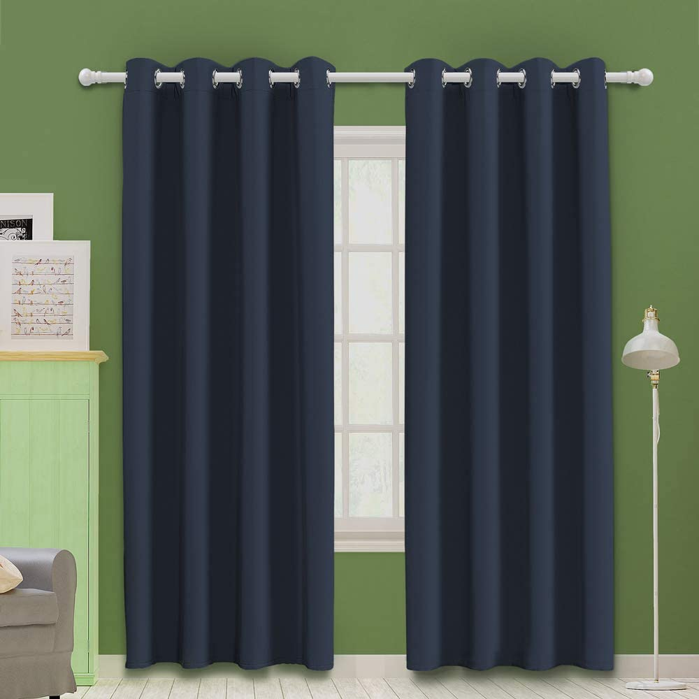 """MOOORE Navy Blue Bedroom Blackout Curtains, Eyelet Ring Top Thermal Insulated Soft Window Darkening Panel for Kitchen   Living Room   Boy Room Decoration 46 X 72 Inch Drop Navy Blue 2 Panels Navy Blue Blackout Curtains 2 x 46""""W x 72""""L"""