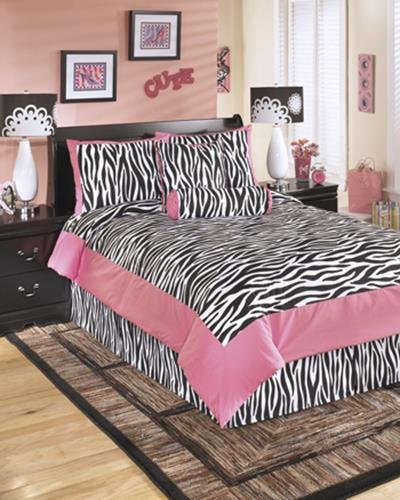 Ashley Furniture 6 Piece Glamour Zebra Print Youth Comforter Set Full Pink And