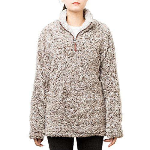 PAAZA Women 1/4 Zip Pullover Frosty Pile Tipped Sweater Stadium Fleece Sherpa Pullover Hoodie(Charcoal,Medium) (Pullover Pile Fleece)
