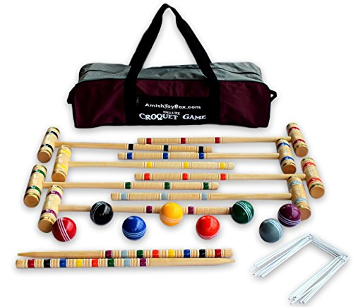 8-Player Deluxe Amish Crafted Croquet Game Set with Carry Bag (33'' Mallet Length) by AmishToyBox.com (Image #1)
