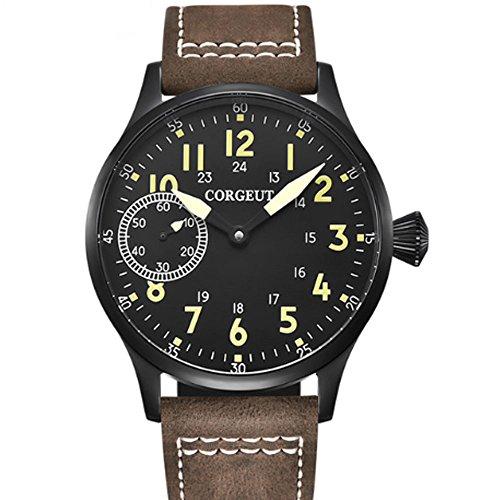 Corgeut 44MM Black Dial PVD Coated Case Mechanical 6497 Hand Winding Movement Men's Wrist Watch Luminous (Black PVD Case Green Marks)