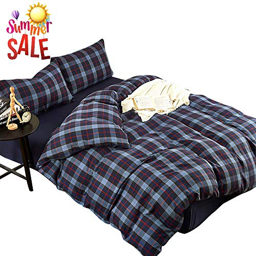 LifeTB Blue Plaid Cotton Duvet Cover Set Queen Modern Soft Velvet Flannel Feel Bedding Set Full 3 Piece Grid Checkered Duvet Comforter Cover Set Zipper Closure Soft Bedding Set Full Queen (Plaid Blue Cover Duvet Flannel)