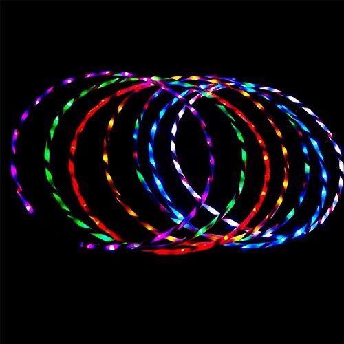 YOEDAF 35inch Hula Hoop,Colorful LED light Twist Hula Hoop Cosmic Glow Hula Hoop(7 Color Change ) by YOEDAF