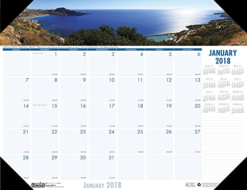 House of Doolittle 2018 Monthly Desk Pad Calendar, Earthscapes Coastlines, 18.5 x 13 Inches, January - December (HOD1786-18)