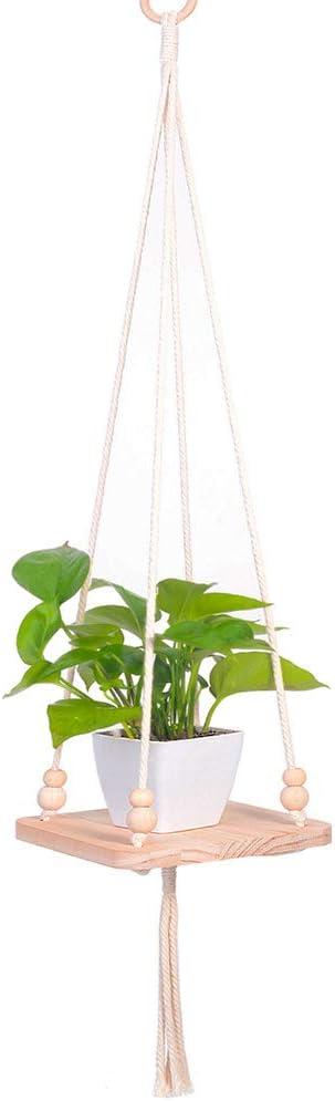 Macrame Hanging Shelf Plant Holder – Indoor Outdoor Hanging Planter Shelf Pot Holder for Morden Boho Home Decor 01