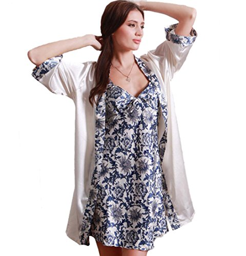Ellie Hebe Women's Women's 2 Pieces Floral Printed Robe One Size Blue & White