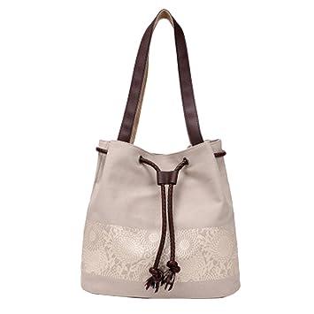 Amazon.com: wenyujh Mujer Lona Hobo bolsos Simple Casual ...