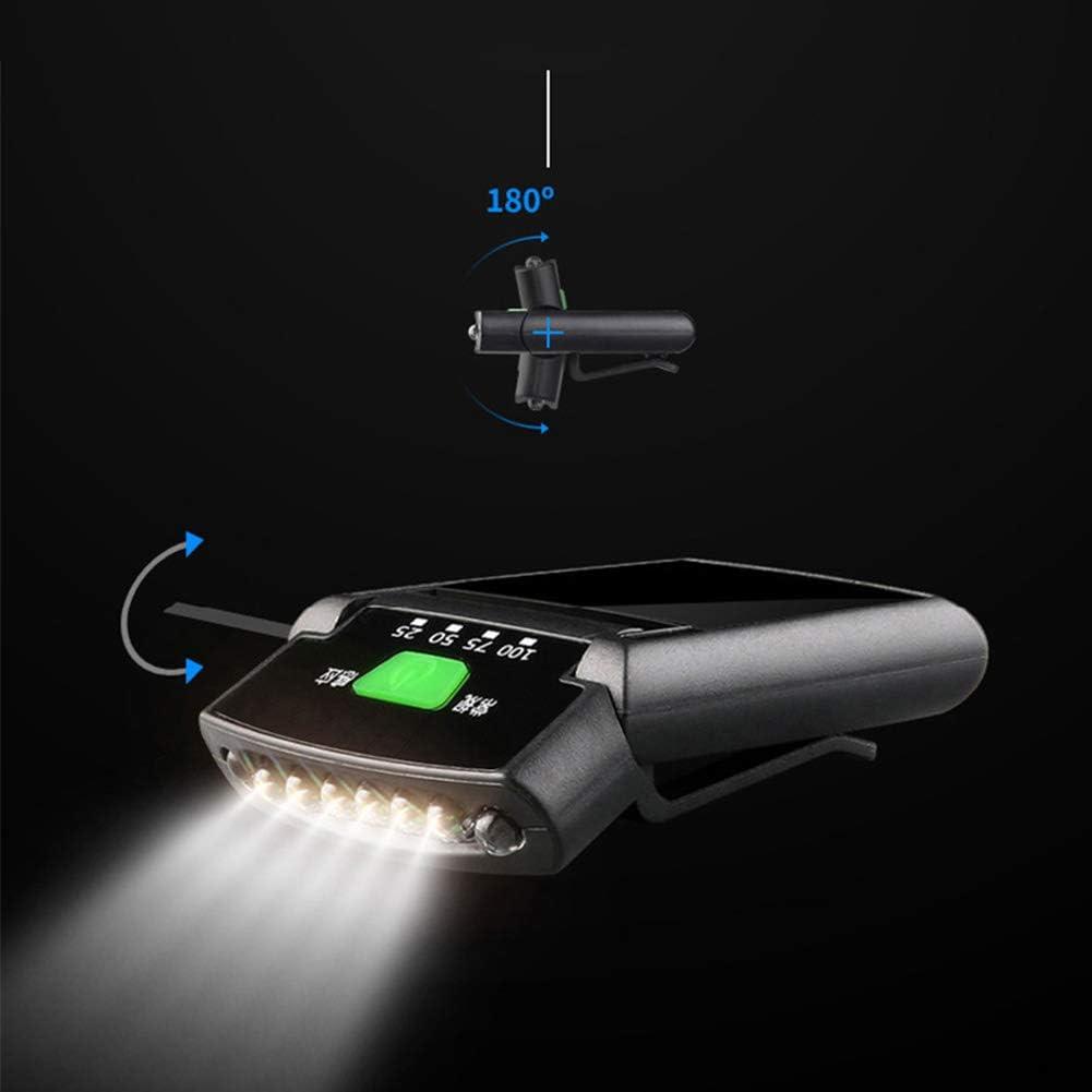 StyleBest Wiederaufladbare sensorische Clip Cap Lampe LED Nachtangeln super helle Kappe Krempe Lampe wasserdichte Batterie sensorische Mini Super 6 LED Hut Clip Licht einstellbare Lampensockel