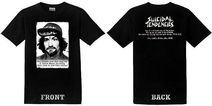 b89c4b849021f6 Amazon.com  Suicidal Tendencies Official TS66 SxTx Charlie Manson + Sticker  - Black   White  Clothing