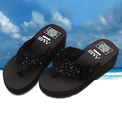 cunas paillette antideslizante de mujer de TOOGOO Zapatillas con Negro Chanclas 5 R negro playa Tamano nuevas plataforma 7AHHwzPx