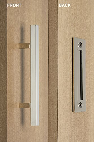 Door Entry Flush (Modern and Contemporary Square Pull and Flush Door Handle Set / Commercial / Residential Grade Stainless Steel / Polished Chrome Finish)