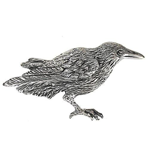 Silver Brooch Sterling Bird - Sterling Silver Crow Raven Brooch Pin; 1 7/8