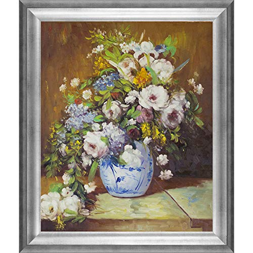 overstockArt Grande Vase Di Fiori by Pierre-Auguste Renoir Hand Painted Oil on Canvas with Brasovia Frame, 26.5