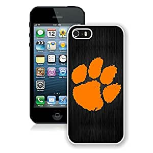Clemson Tigers White Cool Photo Custom iPhone 5S Phone Case