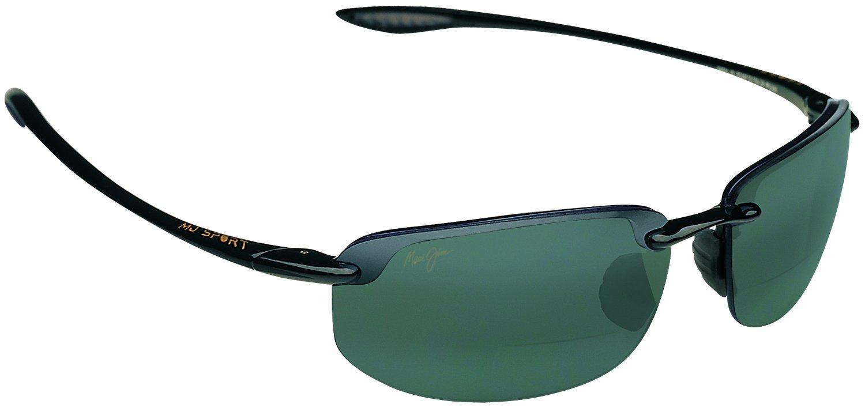 Maui Jim Ho'okipa Bifocal Sun Reader Designer Reading Glasses, Black / Grey Lens, +2.00