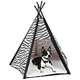 Etna Portable Lightweight Teepee Pet Tent - Warm and Cozy With Soft Bed Padding For Dogs, Cats, Puppies, and Rabbits. Indoor/Outdoor, Office, Home.