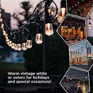 Enbrighten Vintage Seasons LED Warm White & Color Changing Café String Lights, Black, 48ft., 24 Premium Impact Resistant Lifetime Bulbs, Wireless, Weatherproof, Indoor/Outdoor, Commercial Grade, 37790