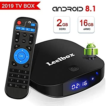 TV Box Android TV Sistema 8.1 - Leelbox Smart TV Box 2GB RAM & 16GB ROM, widevine L1, 4K*2K UHD H.265, USB*2, WiFi Media Player, Android Set-Top Box: Amazon.es: Electrónica