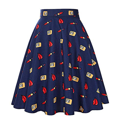 Vintage Skirts Womens 2019 High Waist Cotton Swing Retro Skirt Black Plaid Daily Summer Skirt,L
