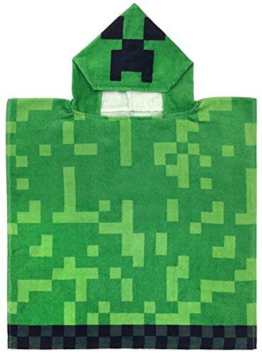 Jay Franco Minecraft Creeper Super Soft & Absorbent Kids Bath/Pool/Beach Hooded Towel, Featuring Creeper - Fade Resistant Cotton Terry Towel, Measures 22 inch x 22 inch (Official Minecraft Product)