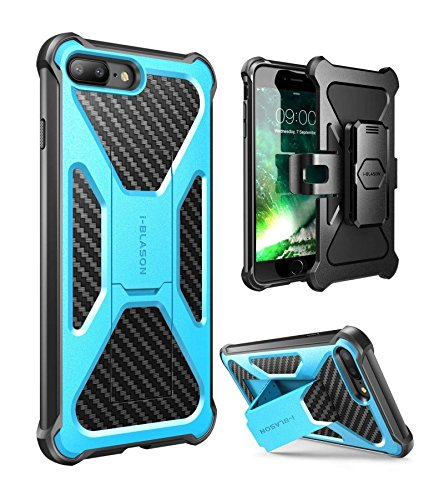 - iPhone 7 Plus Case, iPhone 8 Plus Case, i-Blason Transformer [Kickstand] [Heavy Duty] [Dual Layer] Combo Holster Cover case with [Locking Belt Swivel Clip] for Apple iPhone 7 Plus 2017 Release (Blue)